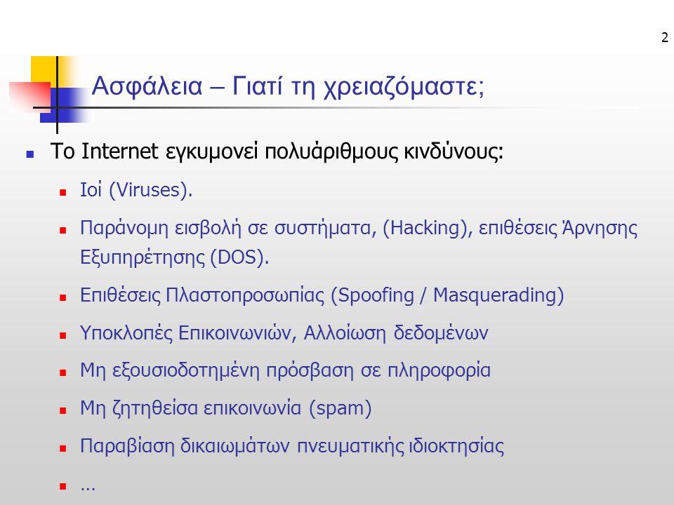 13 1) Active Content Monitoring / Filtering Υπηρεσίες & Εργαλεία Ασφάλειας στο Ηλ. Επιχειρείν