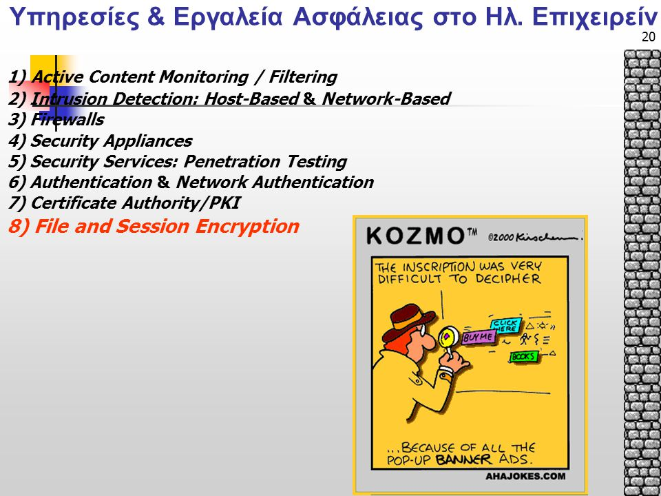 20 1) Active Content Monitoring / Filtering 2) Intrusion Detection: Host-Based & Network-Based 3) Firewalls 4) Security Appliances 5) Security Services: Penetration Testing 6) Authentication & Network Authentication 7) Certificate Authority/PKI 8) File and Session Encryption Υπηρεσίες & Εργαλεία Ασφάλειας στο Ηλ.