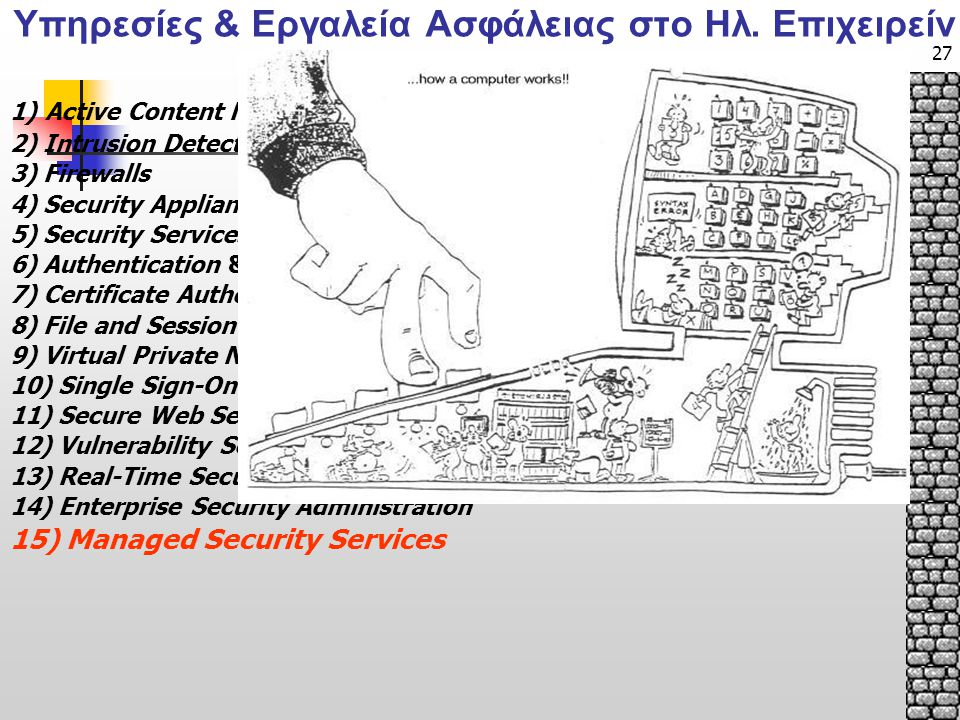 27 1) Active Content Monitoring / Filtering 2) Intrusion Detection: Host-Based & Network-Based 3) Firewalls 4) Security Appliances 5) Security Services: Penetration Testing 6) Authentication & Network Authentication 7) Certificate Authority/PKI 8) File and Session Encryption 9) Virtual Private Networks and Cryptographic Communications 10) Single Sign-On 11) Secure Web Servers & Web Applications 12) Vulnerability Scanners: Network-Based & Host-Based 13) Real-Time Security Awareness/Incident Response 14) Enterprise Security Administration 15) Managed Security Services Υπηρεσίες & Εργαλεία Ασφάλειας στο Ηλ.