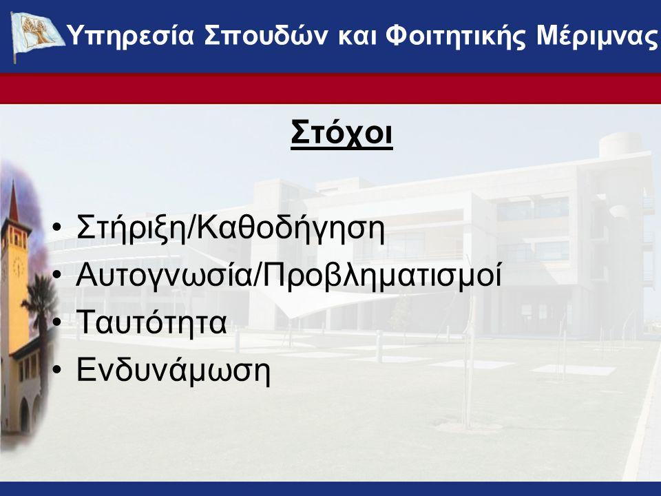 Στόχοι Στήριξη/Καθοδήγηση Αυτογνωσία/Προβληματισμοί Ταυτότητα Ενδυνάμωση ΥΠΗΡΕΣΙΑ ΣΠΟΥΔΩΝ ΚΑΙ ΦΟΙΤΗΤΙΚΗΣ ΜΕΡΙΜΝΑΣ - www.ucy.ac.cy/fmweb Υπηρεσία Σπουδ