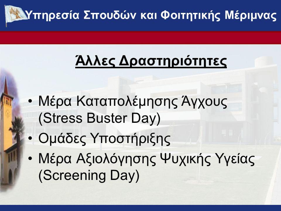 Άλλες Δραστηριότητες Μέρα Καταπολέμησης Άγχους (Stress Buster Day) Ομάδες Υποστήριξης Μέρα Αξιολόγησης Ψυχικής Υγείας (Screening Day) ΥΠΗΡΕΣΙΑ ΣΠΟΥΔΩΝ ΚΑΙ ΦΟΙΤΗΤΙΚΗΣ ΜΕΡΙΜΝΑΣ - www.ucy.ac.cy/fmweb Υπηρεσία Σπουδών και Φοιτητικής Μέριμνας