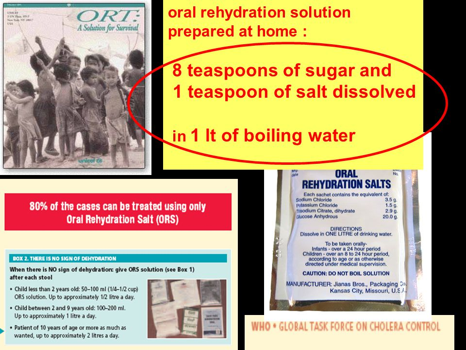 oral rehydration solution prepared at home : 8 teaspoons of sugar and 1 teaspoon of salt dissolved in 1 lt of boiling water