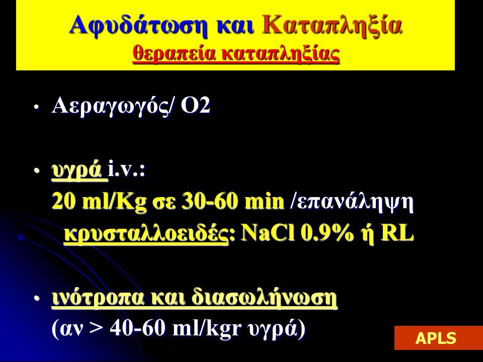 Αφυδάτωση και Καταπληξία θεραπεία καταπληξίας Αεραγωγός/ Ο2 Αεραγωγός/ Ο2 υγρά i.v.: υγρά i.v.: 20 ml/Kg σε 30-60 min /επανάληψη 20 ml/Kg σε 30-60 min