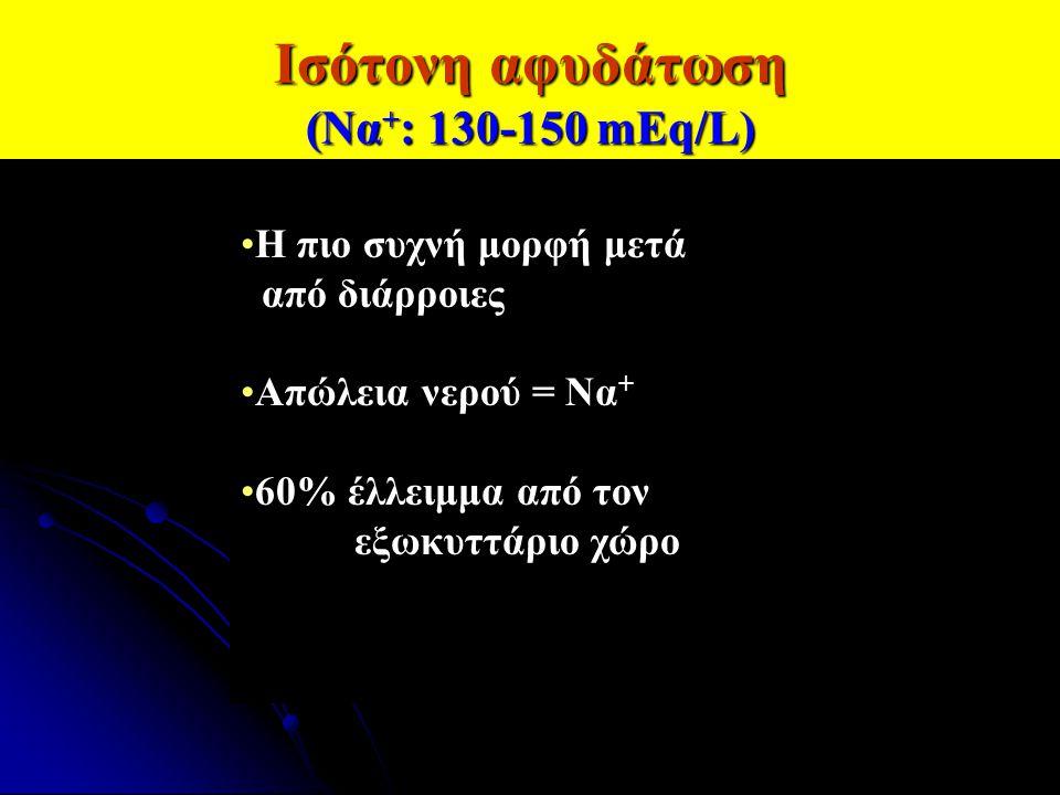 Ισότονη αφυδάτωση (Να + : 130-150 mEq/L) Η πιο συχνή μορφή μετά από διάρροιες Απώλεια νερού = Να + 60% έλλειμμα από τον εξωκυττάριο χώρο