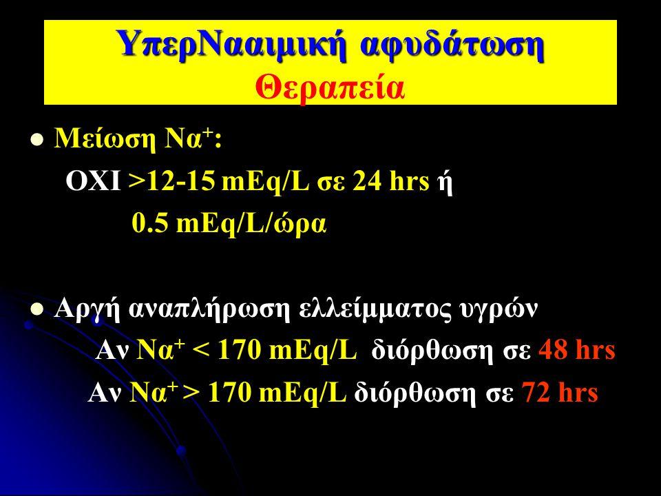 ΥπερΝααιμική αφυδάτωση ΥπερΝααιμική αφυδάτωση Θεραπεία Μείωση Να + : ΟΧΙ >12-15 mEq/L σε 24 hrs ή 0.5 mEq/L/ώρα Αργή αναπλήρωση ελλείμματος υγρών Αν Ν