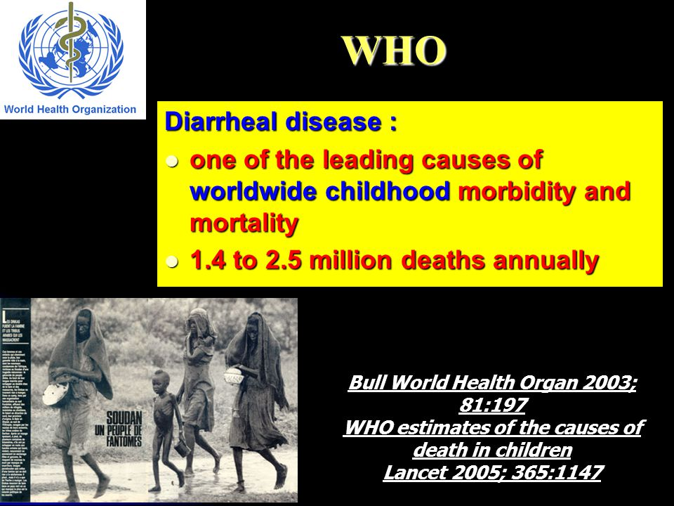 WHO Diarrheal disease : one of the leading causes of worldwide childhood morbidity and mortality one of the leading causes of worldwide childhood morb