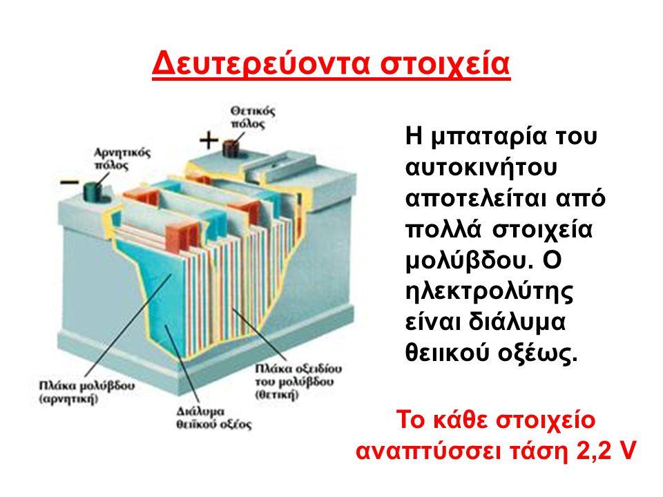 Δευτερεύοντα στοιχεία Η μπαταρία του αυτοκινήτου αποτελείται από πολλά στοιχεία μολύβδου. Ο ηλεκτρολύτης είναι διάλυμα θειικού οξέως. Το κάθε στοιχείο