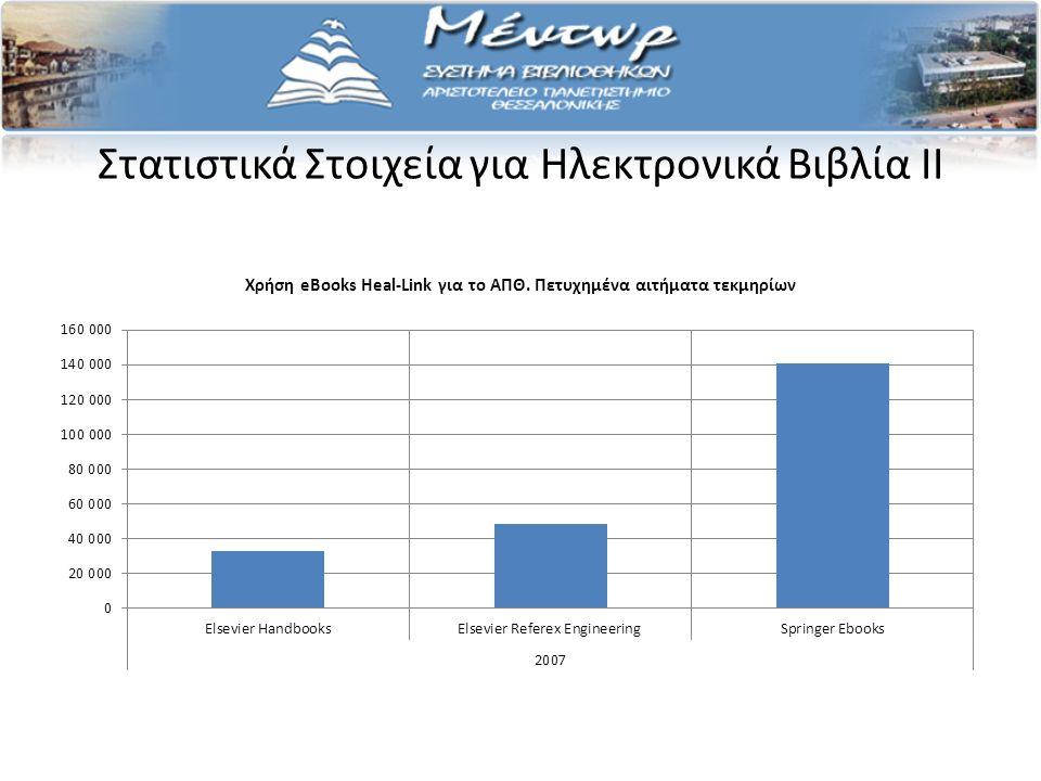 Στατιστικά Στοιχεία για Ηλεκτρονικά Βιβλία II Χρήση eBooks Heal-Link για το ΑΠΘ.