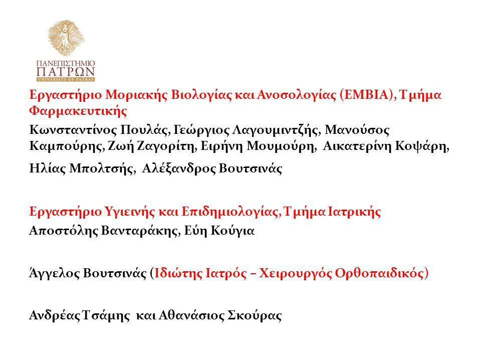 Εργαστήριο Μοριακής Βιολογίας και Ανοσολογίας (ΕΜΒΙΑ), Τμήμα Φαρμακευτικής Κωνσταντίνος Πουλάς, Γεώργιος Λαγουμιντζής, Μανούσος Καμπούρης, Ζωή Ζαγορίτ
