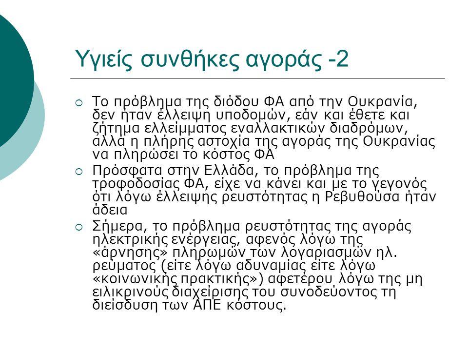 Υγιείς συνθήκες αγοράς -2  Το πρόβλημα της διόδου ΦΑ από την Ουκρανία, δεν ήταν έλλειψη υποδομών, εάν και έθετε και ζήτημα ελλείμματος εναλλακτικών διαδρόμων, αλλά η πλήρης αστοχία της αγοράς της Ουκρανίας να πληρώσει το κόστος ΦΑ  Πρόσφατα στην Ελλάδα, το πρόβλημα της τροφοδοσίας ΦΑ, είχε να κάνει και με το γεγονός ότι λόγω έλλειψης ρευστότητας η Ρεβυθούσα ήταν άδεια  Σήμερα, το πρόβλημα ρευστότητας της αγοράς ηλεκτρικής ενέργειας, αφενός λόγω της «άρνησης» πληρωμών των λογαριασμών ηλ.