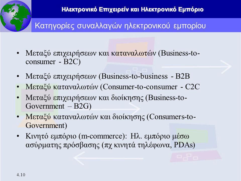Ηλεκτρονικό Επιχειρείν και Ηλεκτρονικό Εμπόριο 4.10 Μεταξύ επιχειρήσεων και καταναλωτών (Business-to- consumer - B2C) Μεταξύ επιχειρήσεων (Business-to-business - B2B Μεταξύ καταναλωτών (Consumer-to-consumer - C2C Μεταξύ επιχειρήσεων και διοίκησης (Business-to- Government – B2G) Μεταξύ καταναλωτών και διοίκησης (Consumers-to- Government) Κινητό εμπόριο (m-commerce): Ηλ.