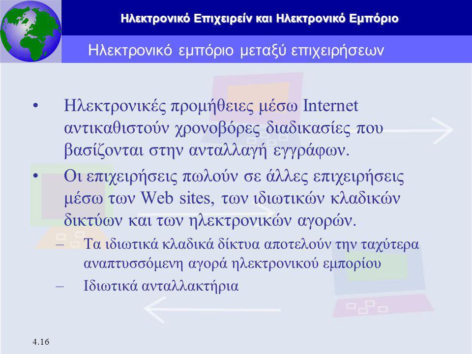 Ηλεκτρονικό Επιχειρείν και Ηλεκτρονικό Εμπόριο 4.16 Ηλεκτρονικές προμήθειες μέσω Internet αντικαθιστούν χρονοβόρες διαδικασίες που βασίζονται στην ανταλλαγή εγγράφων.