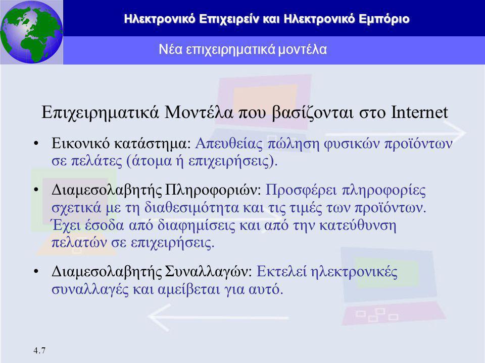 Ηλεκτρονικό Επιχειρείν και Ηλεκτρονικό Εμπόριο 4.7 Επιχειρηματικά Μοντέλα που βασίζονται στο Internet Εικονικό κατάστημα: Απευθείας πώληση φυσικών προϊόντων σε πελάτες (άτομα ή επιχειρήσεις).
