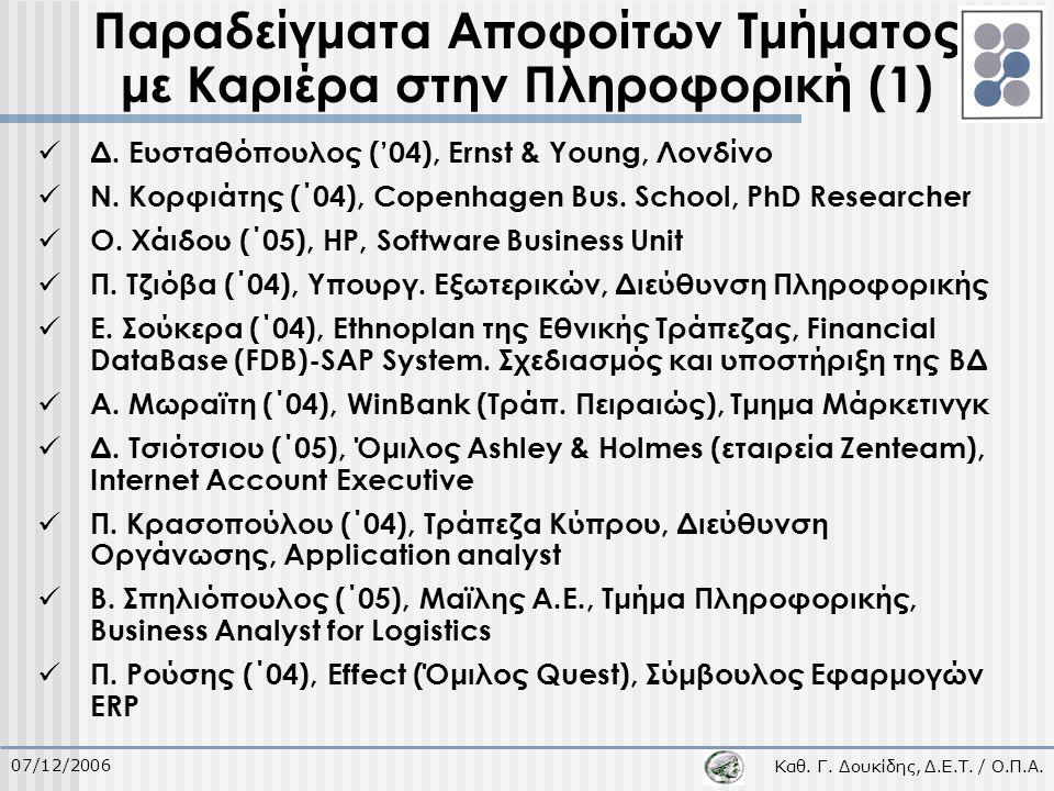 Καθ. Γ. Δουκίδης, Δ.Ε.Τ. / Ο.Π.Α. 07/12/2006 Παραδείγματα Αποφοίτων Τμήματος με Καριέρα στην Πληροφορική (1) Δ. Ευσταθόπουλος ('04), Ernst & Young, Λο