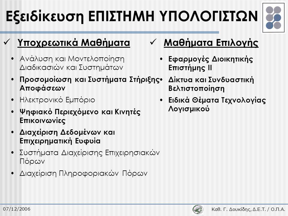 Καθ. Γ. Δουκίδης, Δ.Ε.Τ. / Ο.Π.Α. 07/12/2006 Υποχρεωτικά Μαθήματα Ανάλυση και Μοντελοποίηση Διαδικασιών και Συστημάτων Προσομοίωση και Συστήματα Στήρι