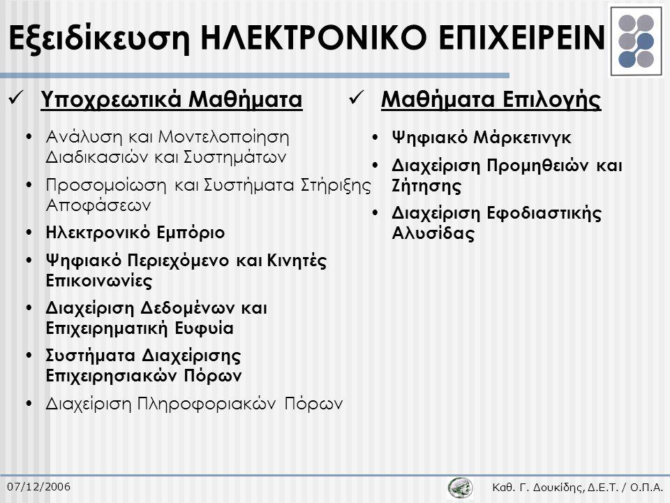 Καθ. Γ. Δουκίδης, Δ.Ε.Τ. / Ο.Π.Α. 07/12/2006 Υποχρεωτικά Μαθήματα Μαθήματα Επιλογής Εξειδίκευση ΗΛΕΚΤΡΟΝΙΚΟ ΕΠΙΧΕΙΡΕΙΝ Ανάλυση και Μοντελοποίηση Διαδι