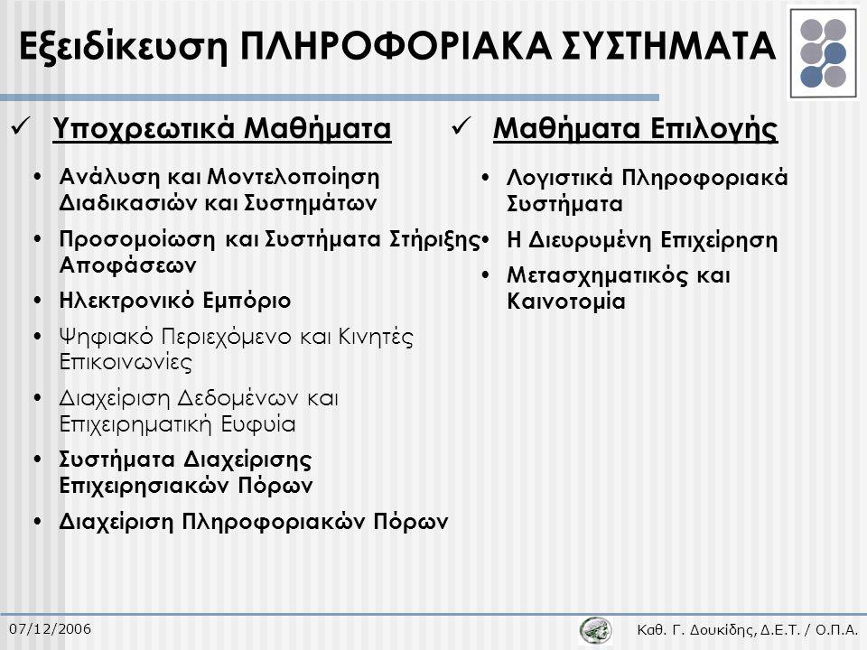 Καθ. Γ. Δουκίδης, Δ.Ε.Τ. / Ο.Π.Α. 07/12/2006 Υποχρεωτικά Μαθήματα Μαθήματα Επιλογής Εξειδίκευση ΠΛΗΡΟΦΟΡΙΑΚΑ ΣΥΣΤΗΜΑΤΑ Ανάλυση και Μοντελοποίηση Διαδι