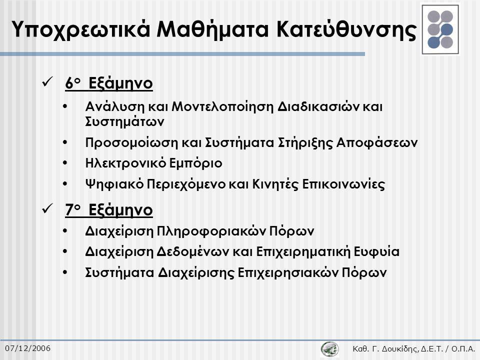 Καθ. Γ. Δουκίδης, Δ.Ε.Τ. / Ο.Π.Α. 07/12/2006 Υποχρεωτικά Μαθήματα Κατεύθυνσης 6 ο Εξάμηνο 7 ο Εξάμηνο Ανάλυση και Μοντελοποίηση Διαδικασιών και Συστημ