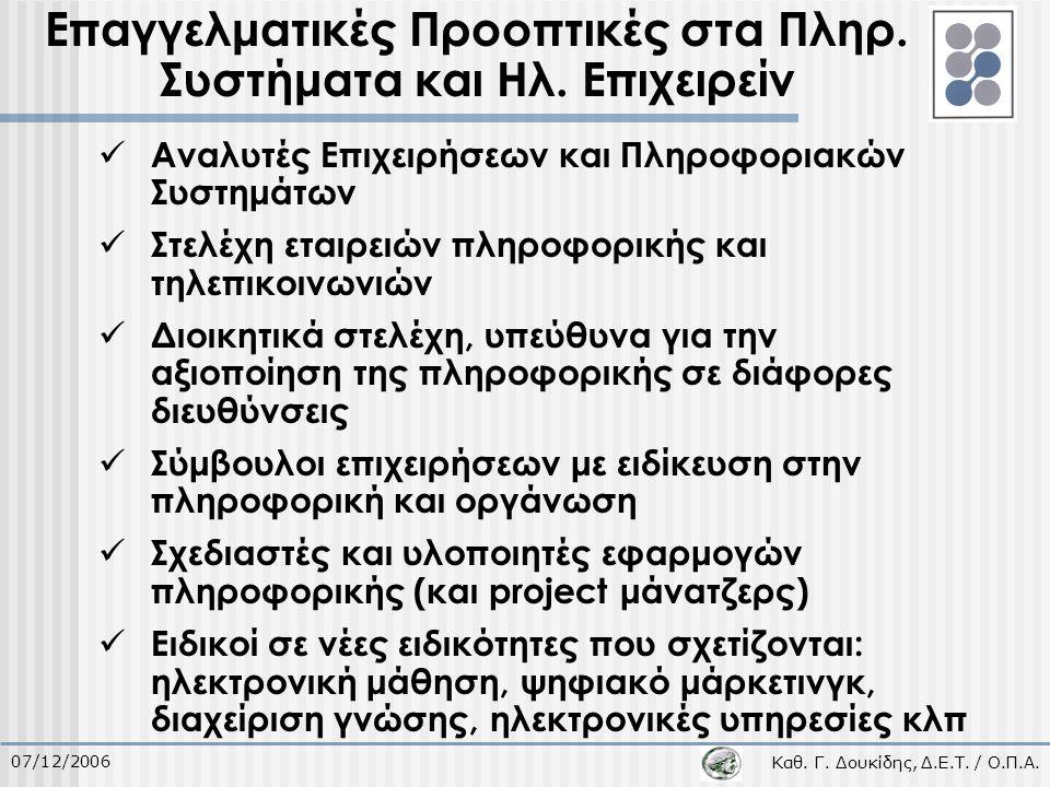 Καθ. Γ. Δουκίδης, Δ.Ε.Τ. / Ο.Π.Α. 07/12/2006 Επαγγελματικές Προοπτικές στα Πληρ. Συστήματα και Ηλ. Επιχειρείν Αναλυτές Επιχειρήσεων και Πληροφοριακών