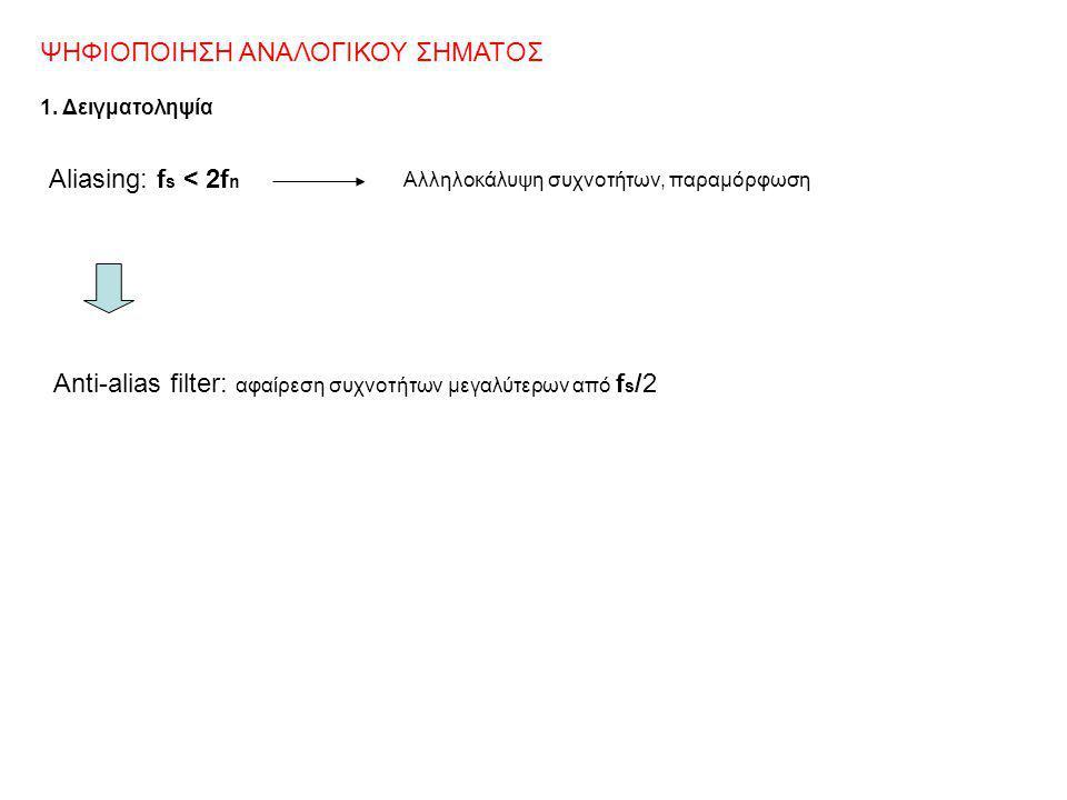 ΨΗΦΙΟΠΟΙΗΣΗ ΑΝΑΛΟΓΙΚΟΥ ΣΗΜΑΤΟΣ 1. Δειγματοληψία Aliasing: f s < 2f n Αλληλοκάλυψη συχνοτήτων, παραμόρφωση Anti-alias filter: αφαίρεση συχνοτήτων μεγαλ
