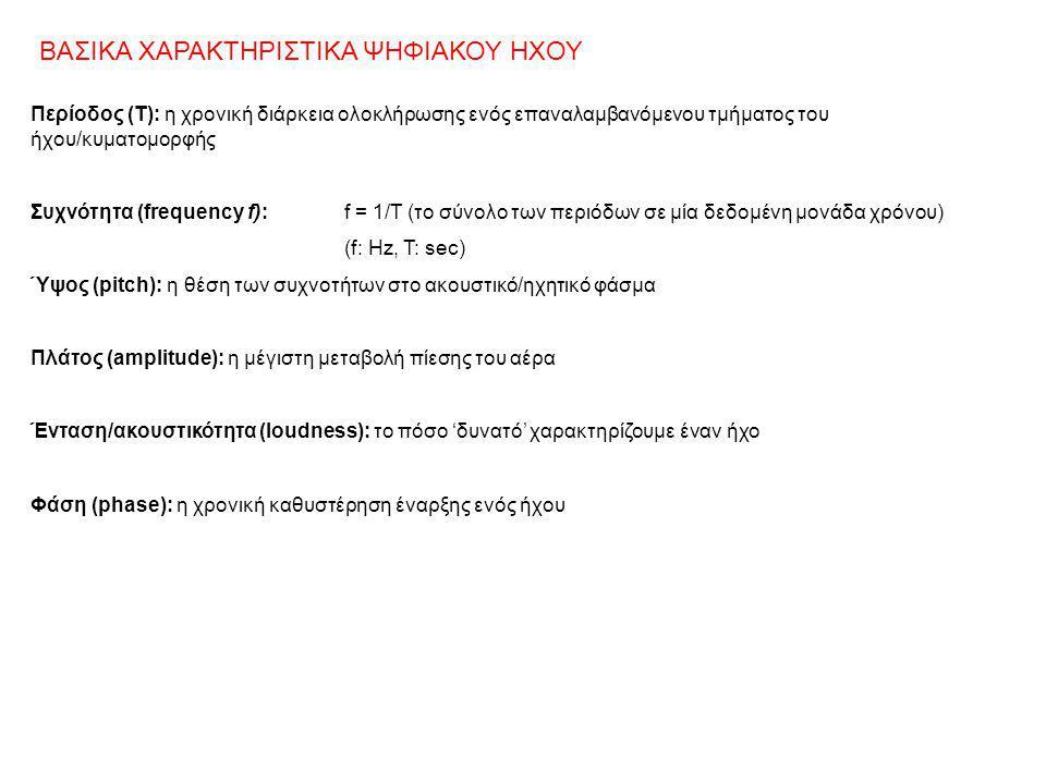 Περίοδος (Τ): η χρονική διάρκεια ολοκλήρωσης ενός επαναλαμβανόμενου τμήματος του ήχου/κυματομορφής Συχνότητα (frequency f):f = 1/T (το σύνολο των περι