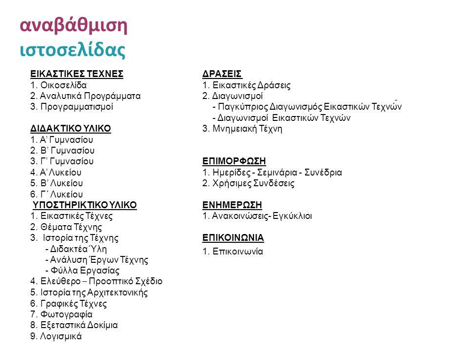 αναβάθμιση ιστοσελίδας ΕΙΚΑΣΤΙΚΕΣ ΤΕΧΝΕΣ 1. Οικοσελίδα 2. Αναλυτικά Προγράμματα 3. Προγραμματισμοί ΔΙΔΑΚΤΙΚΟ ΥΛΙΚΟ 1. Α' Γυμνασίου 2. Β' Γυμνασίου 3.