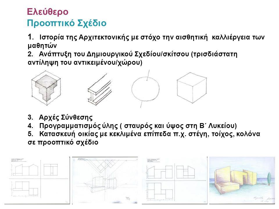 1. Ιστορία της Αρχιτεκτονικής με στόχο την αισθητική καλλιέργεια των μαθητών 2. Ανάπτυξη του Δημιουργικού Σχεδίου/σκίτσου (τρισδιάστατη αντίληψη του α