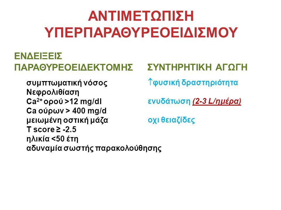 ΑΝΤΙΜΕΤΩΠΙΣΗ ΥΠΕΡΠΑΡΑΘΥΡΕΟΕΙΔΙΣΜΟΥ ΕΝΔΕΙΞΕΙΣ ΠΑΡΑΘΥΡΕΟΕΙΔΕΚΤΟΜΗΣ συμπτωματική νόσος Νεφρολιθίαση Ca 2+ ορού >12 mg/dl Ca ούρων > 400 mg/d μειωμένη οστική μάζα T score ≥ -2.5 ηλικία <50 έτη αδυναμία σωστής παρακολούθησης ΣΥΝΤΗΡΗΤΙΚΗ ΑΓΩΓΗ  φυσική δραστηριότητα ενυδάτωση (2-3 L/ημέρα) οχι θειαζίδες