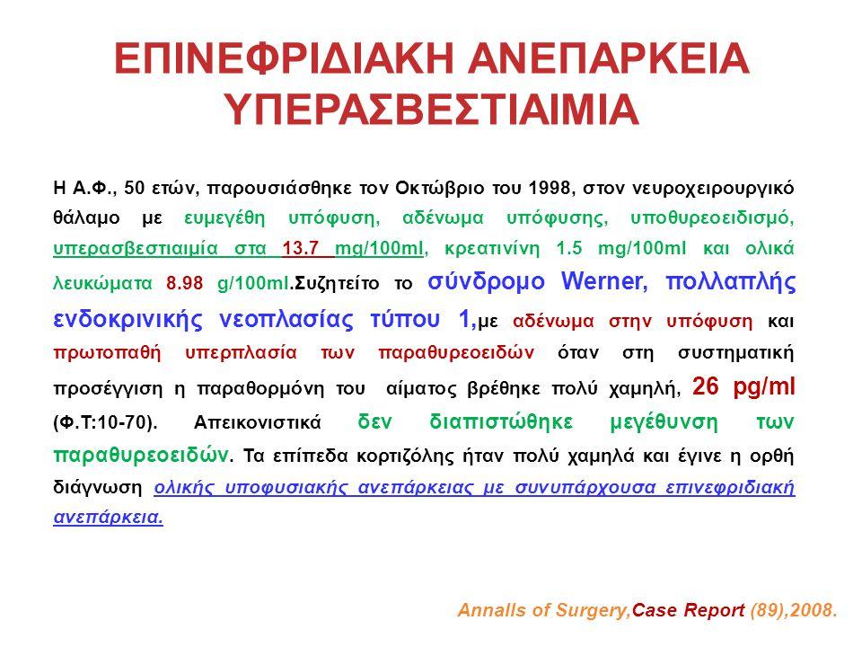 ΕΠΙΝΕΦΡΙΔΙΑΚΗ ΑΝΕΠΑΡΚΕΙΑ ΥΠΕΡΑΣΒΕΣΤΙΑΙΜΙΑ Η Α.Φ., 50 ετών, παρουσιάσθηκε τον Οκτώβριο του 1998, στον νευροχειρουργικό θάλαμο με ευμεγέθη υπόφυση, αδένωμα υπόφυσης, υποθυρεοειδισμό, υπερασβεστιαιμία στα 13.7 mg/100ml, κρεατινίνη 1.5 mg/100ml και ολικά λευκώματα 8.98 g/100ml.Συζητείτο το σύνδρομο Werner, πολλαπλής ενδοκρινικής νεοπλασίας τύπου 1, με αδένωμα στην υπόφυση και πρωτοπαθή υπερπλασία των παραθυρεοειδών όταν στη συστηματική προσέγγιση η παραθορμόνη του αίματος βρέθηκε πολύ χαμηλή, 26 pg/ml (Φ.Τ:10-70).