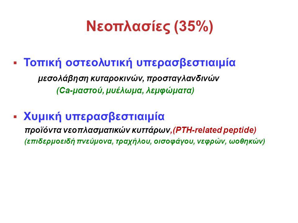 Νεοπλασίες (35%)  Τοπική οστεολυτική υπερασβεστιαιμία μεσολάβηση κυταροκινών, προσταγλανδινών (Ca-μαστού, μυέλωμα, λεμφώματα)  Χυμική υπερασβεστιαιμία προϊόντα νεοπλασματικών κυττάρων,(PTH-related peptide) (επιδερμοειδή πνεύμονα, τραχήλου, οισοφάγου, νεφρών, ωοθηκών)