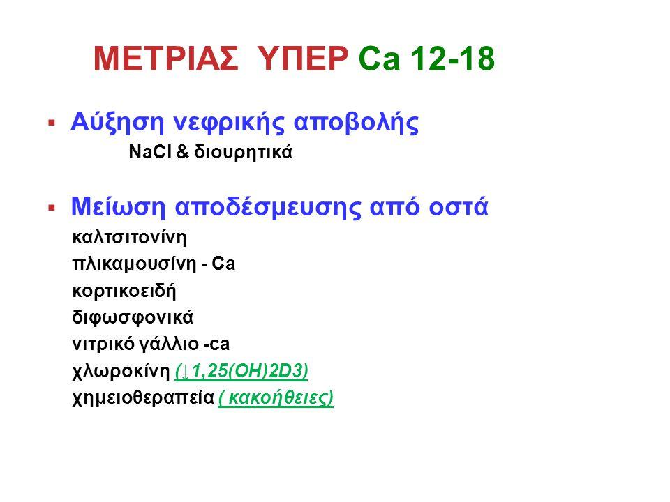 ΜΕΤΡΙΑΣ ΥΠΕΡ Ca 12-18  Αύξηση νεφρικής αποβολής NaCl & διουρητικά  Μείωση αποδέσμευσης από οστά καλτσιτονίνη πλικαμουσίνη - Ca κορτικοειδή διφωσφονικά νιτρικό γάλλιο -ca χλωροκίνη (↓1,25(OH)2D3) χημειοθεραπεία ( κακοήθειες)