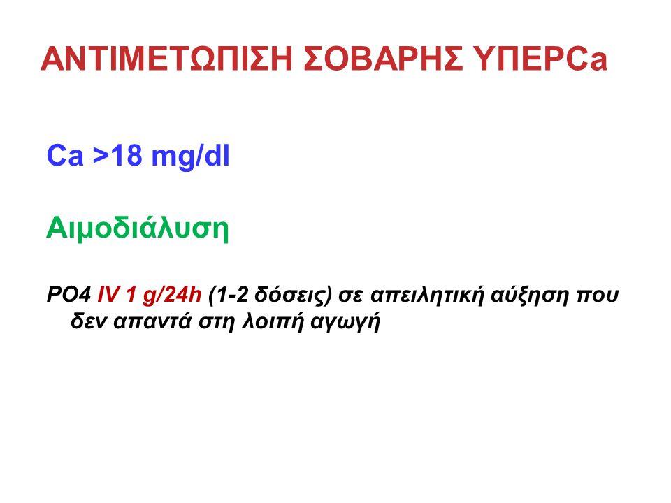 ΑΝΤΙΜΕΤΩΠΙΣΗ ΣΟΒΑΡΗΣ ΥΠΕΡCa Ca >18 mg/dl Αιμοδιάλυση PO4 IV 1 g/24h (1-2 δόσεις) σε απειλητική αύξηση που δεν απαντά στη λοιπή αγωγή
