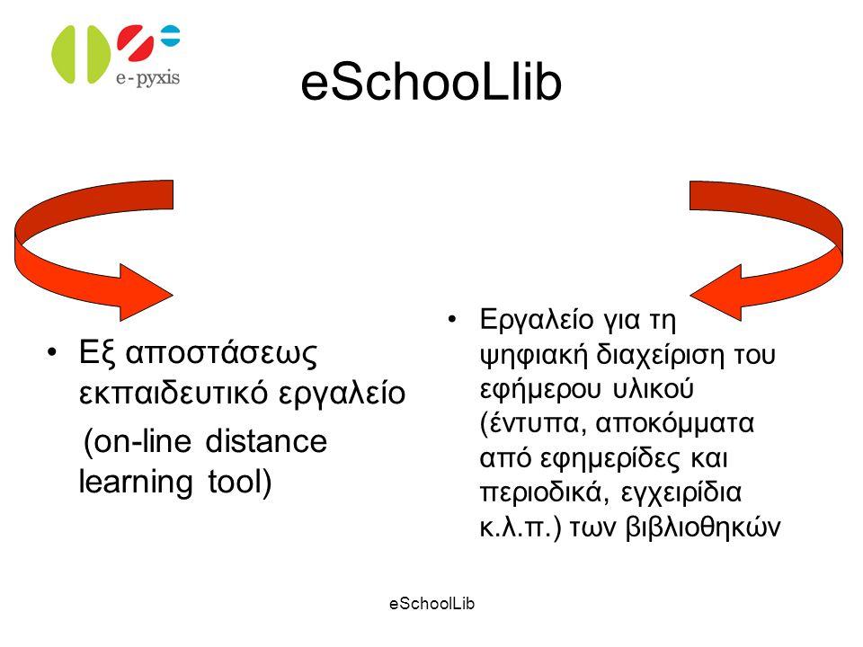eSchoolLib Στόχοι Ψηφιακή Βιβλιοθήκη εφήμερου υλικού Ανάπτυξη εργαλείων για τη ψηφιακή διαχείριση του εφήμερου υλικού Δυνατότητα εξ αποστάσεως τροφοδοσίας Διαμόρφωση προσωπικής βάσης δεδομένων Ανάπτυξη εξ αποστάσεως εκπαιδευτικού εργαλείου