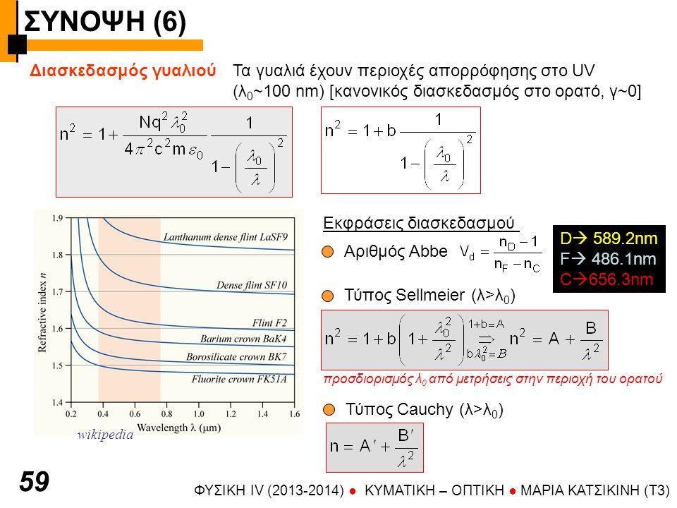 ΣΥΝΟΨΗ (6) ΦΥΣΙΚΗ IV (2013-2014) ● KYMATIKH – OΠTIKH ● ΜΑΡΙΑ ΚΑΤΣΙΚΙΝΗ (T3) 59 Διασκεδασμός γυαλιούΤα γυαλιά έχουν περιοχές απορρόφησης στο UV (λ 0 ~100 nm) [κανονικός διασκεδασμός στο ορατό, γ~0] wikipedia Εκφράσεις διασκεδασμού Αριθμός Abbe D  589.2nm F  486.1nm C  656.3nm Τύπος Sellmeier (λ>λ 0 ) προσδιορισμός λ 0 από μετρήσεις στην περιοχή του ορατού Τύπος Cauchy (λ>λ 0 )