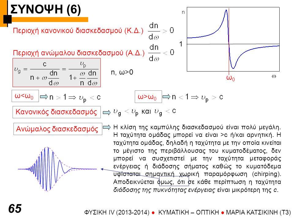 ΣΥΝΟΨΗ (6) ΦΥΣΙΚΗ IV (2013-2014) ● KYMATIKH – OΠTIKH ● ΜΑΡΙΑ ΚΑΤΣΙΚΙΝΗ (T3) 65 Περιοχή κανονικού διασκεδασμού (Κ.Δ.) 1 ω0ω0 Περιοχή ανώμαλου διασκεδασμού (Α.Δ.) ω<ω 0 ω>ω0ω>ω0 n, ω>0 Κανονικός διασκεδασμός και Ανώμαλος διασκεδασμός Η κλίση της καμπύλης διασκεδασμού είναι πολύ μεγάλη.