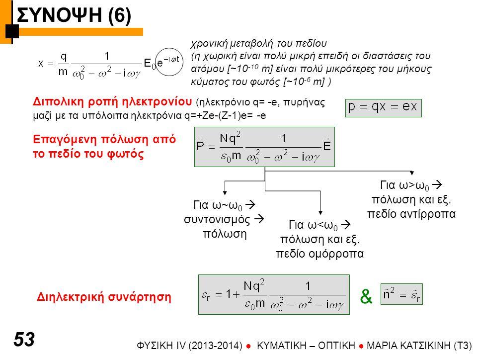 ΣΥΝΟΨΗ (6) ΦΥΣΙΚΗ IV (2013-2014) ● KYMATIKH – OΠTIKH ● ΜΑΡΙΑ ΚΑΤΣΙΚΙΝΗ (T3) 5454 Συνεισφορά πολλών ατομικών ταλαντωτών f j : ισχύς ταλαντωτή (λαμβάνει υπόψη την πιθανότητα μετάπτωσης – υπολογίζεται κβαντομηχανικά) συντελεστής εξασθένισης Χωρίς απόσβεση (γ=0)