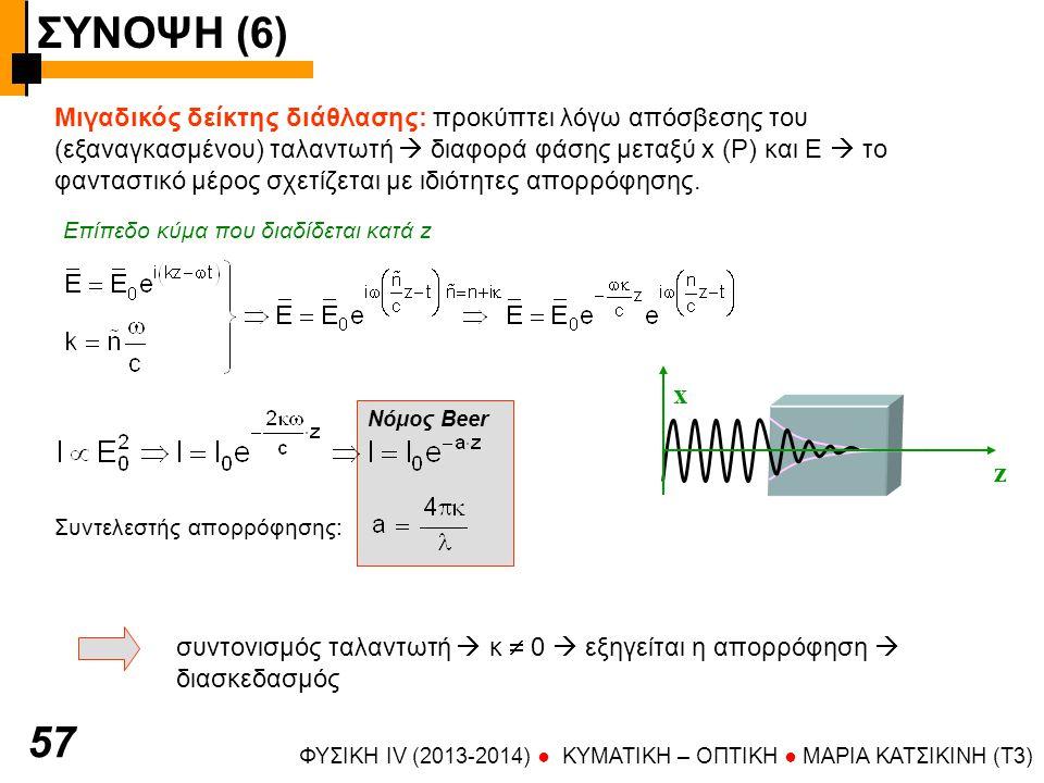 ΣΥΝΟΨΗ (6) ΦΥΣΙΚΗ IV (2013-2014) ● KYMATIKH – OΠTIKH ● ΜΑΡΙΑ ΚΑΤΣΙΚΙΝΗ (T3) 57 Μιγαδικός δείκτης διάθλασης: προκύπτει λόγω απόσβεσης του (εξαναγκασμένου) ταλαντωτή  διαφορά φάσης μεταξύ x (P) και E  το φανταστικό μέρος σχετίζεται με ιδιότητες απορρόφησης.