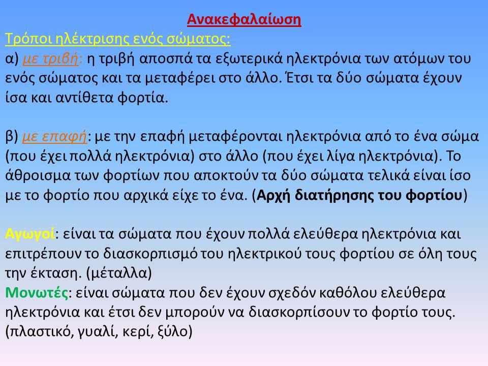 Ανακεφαλαίωση Τρόποι ηλέκτρισης ενός σώματος: α) με τριβή: η τριβή αποσπά τα εξωτερικά ηλεκτρόνια των ατόμων του ενός σώματος και τα μεταφέρει στο άλλ