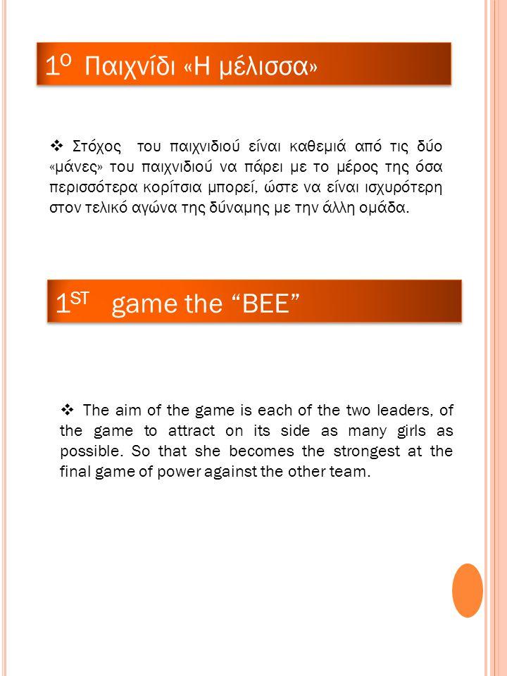 1 O Παιχνίδι «Η μέλισσα»  Στόχος του παιχνιδιού είναι καθεμιά από τις δύο «μάνες» του παιχνιδιού να πάρει με το μέρος της όσα περισσότερα κορίτσια μπορεί, ώστε να είναι ισχυρότερη στον τελικό αγώνα της δύναμης με την άλλη ομάδα.