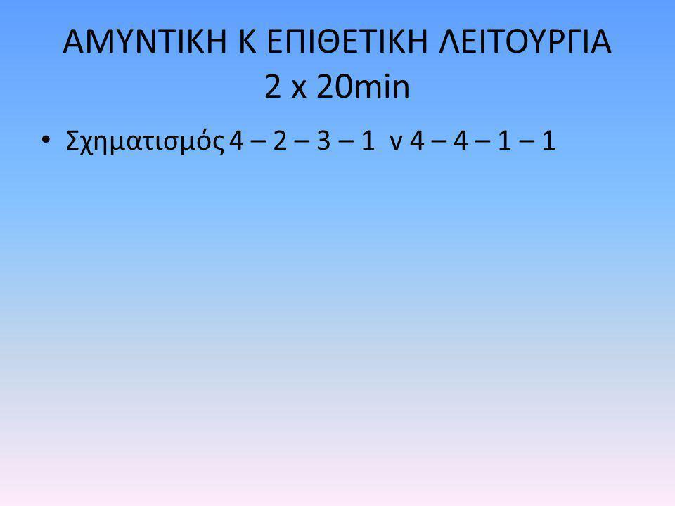ΑΜΥΝΤΙΚΗ Κ ΕΠΙΘΕΤΙΚΗ ΛΕΙΤΟΥΡΓΙΑ 2 x 20min Σχηματισμός 4 – 2 – 3 – 1 v 4 – 4 – 1 – 1