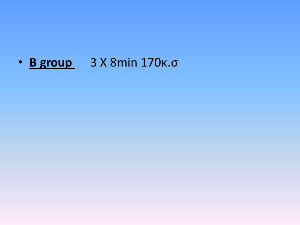 Β μέρος C group –4 Χ 4min 90% Μ.Κ.Σ Ενδιάμεσα των τετραλεπτων 2min τεχνική με μπάλα