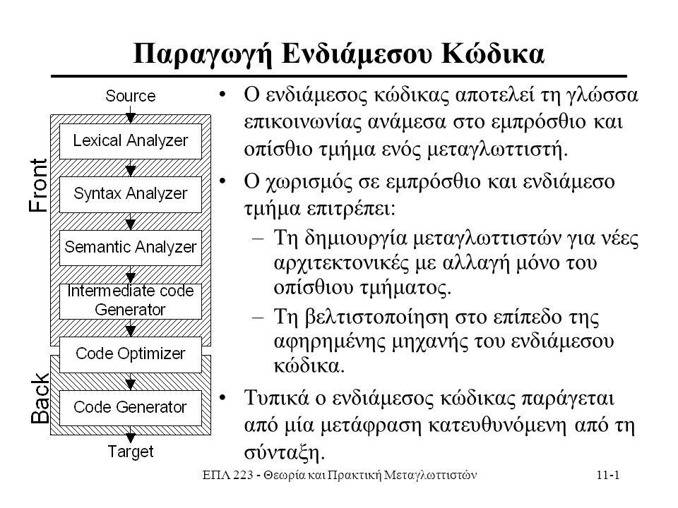 ΕΠΛ 223 - Θεωρία και Πρακτική Μεταγλωττιστών11-1 Παραγωγή Ενδιάμεσου Κώδικα Ο ενδιάμεσος κώδικας αποτελεί τη γλώσσα επικοινωνίας ανάμεσα στο εμπρόσθιο και οπίσθιο τμήμα ενός μεταγλωττιστή.
