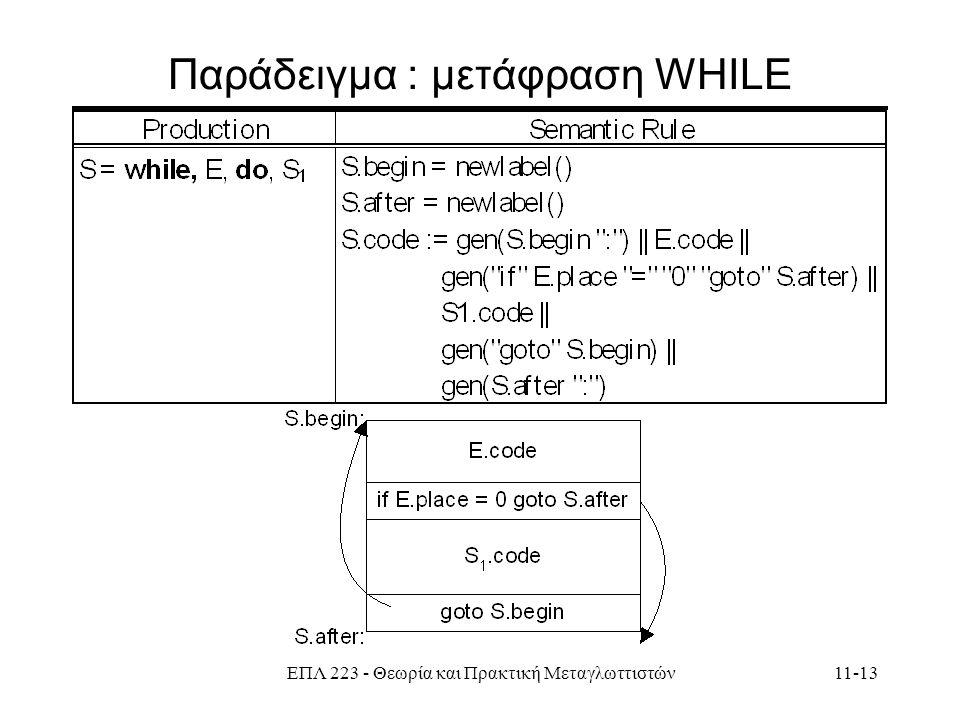 ΕΠΛ 223 - Θεωρία και Πρακτική Μεταγλωττιστών11-13 Παράδειγμα : μετάφραση WHILE