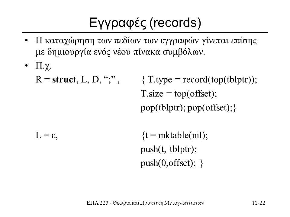 ΕΠΛ 223 - Θεωρία και Πρακτική Μεταγλωττιστών11-22 Εγγραφές (records) Η καταχώρηση των πεδίων των εγγραφών γίνεται επίσης με δημιουργία ενός νέου πίνακα συμβόλων.