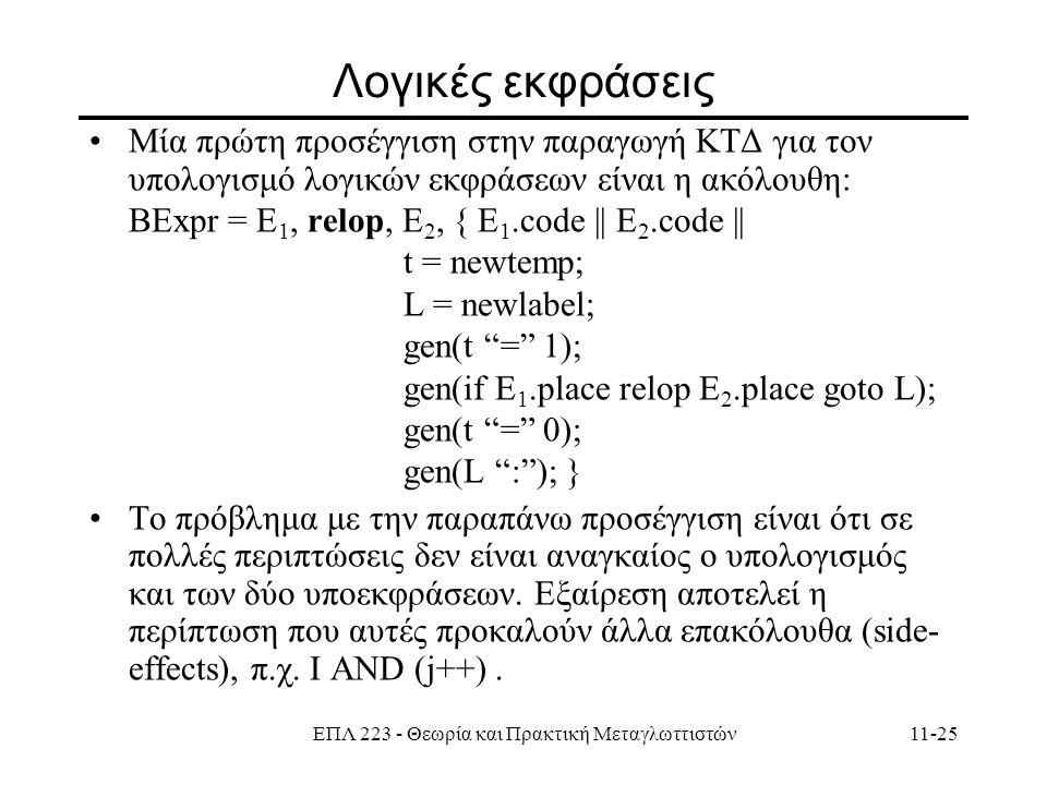ΕΠΛ 223 - Θεωρία και Πρακτική Μεταγλωττιστών11-25 Λογικές εκφράσεις Mία πρώτη προσέγγιση στην παραγωγή ΚΤΔ για τον υπολογισμό λογικών εκφράσεων είναι η ακόλουθη: ΒΕxpr = E 1, relop, E 2, { E 1.code || E 2.code || t = newtemp; L = newlabel; gen(t = 1); gen(if E 1.place relop E 2.place goto L); gen(t = 0); gen(L : ); } To πρόβλημα με την παραπάνω προσέγγιση είναι ότι σε πολλές περιπτώσεις δεν είναι αναγκαίος ο υπολογισμός και των δύο υποεκφράσεων.