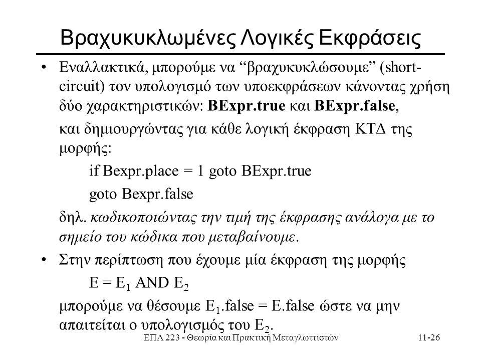 ΕΠΛ 223 - Θεωρία και Πρακτική Μεταγλωττιστών11-26 Bραχυκυκλωμένες Λογικές Εκφράσεις Εναλλακτικά, μπορούμε να βραχυκυκλώσουμε (short- circuit) τον υπολογισμό των υποεκφράσεων κάνοντας χρήση δύο χαρακτηριστικών: ΒΕxpr.true και ΒΕxpr.false, και δημιουργώντας για κάθε λογική έκφραση ΚΤΔ της μορφής: if Bexpr.place = 1 goto BExpr.true goto Bexpr.false δηλ.