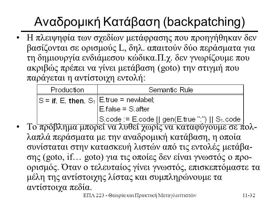 ΕΠΛ 223 - Θεωρία και Πρακτική Μεταγλωττιστών11-32 Aναδρομική Κατάβαση (backpatching) Η πλειψηφία των σχεδίων μετάφρασης που προηγήθηκαν δεν βασίζονται σε ορισμούς L, δηλ.