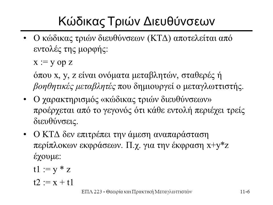 ΕΠΛ 223 - Θεωρία και Πρακτική Μεταγλωττιστών11-6 Κώδικας Τριών Διευθύνσεων Ο κώδικας τριών διευθύνσεων (ΚΤΔ) αποτελείται από εντολές της μορφής: x := y op z όπου x, y, z είναι ονόματα μεταβλητών, σταθερές ή βοηθητικές μεταβλητές που δημιουργεί ο μεταγλωττιστής.