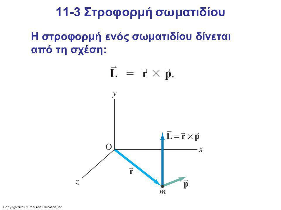 Copyright © 2009 Pearson Education, Inc. 11-3 Στροφορμή σωματιδίου Η στροφορμή ενός σωματιδίου δίνεται από τη σχέση: