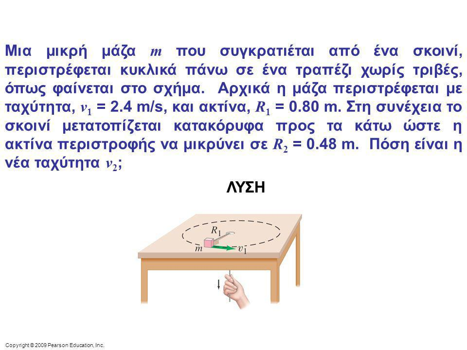 Copyright © 2009 Pearson Education, Inc. Μια μικρή μάζα m που συγκρατιέται από ένα σκοινί, περιστρέφεται κυκλικά πάνω σε ένα τραπέζι χωρίς τριβές, όπω